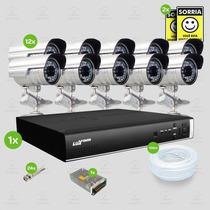 Kit Segurança Dvr Stand Alone 16 Canais Luxvision 12 Cameras