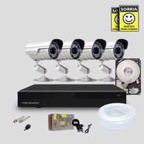 Kit 4 Cameras Segurança Infravermelho Dvr Stand Alone Hd 1tb