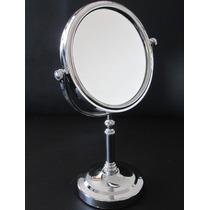 Espelho Dupla Face Grande Cromado De Aumento Make Maquiagem