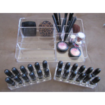 Porta Maquiagem Grande + 2 Porta Batons Acrílico Cosméticos