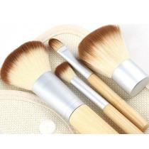 Kit Pincel Para Maquiagem + Necessáire 4pçs Bamboo Ecológico