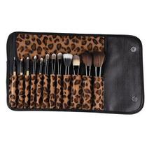 Kit De Pinceis Maquiagem Leopardo Luxo Profissional 12 Peças