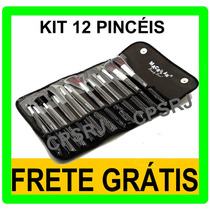 Kit Com 12 Pincéis Pincel Macrilan P/ Maquiagem