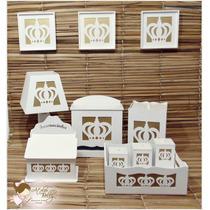 Kit Higiene Bebe Mdf Branco Coroa 11 Peças Dourado