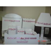 Promoção Kit Higiene 7 Peças Em Mdf Branco Com Fita E Nome