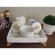 Kit Higiene Bebe Porcelana Coroa Rei Rosa Flo Passaros