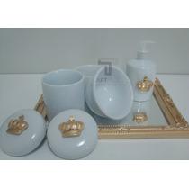 Kit Higiene Porcelana Coroa Bandeja Pote Gel Alcool Sabonete