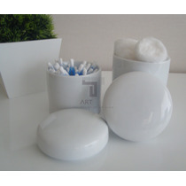Kit Potes Porcelana Bebê Higiene Kit Algodão Cotonete Quarto