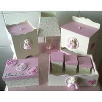 Kit Higiene Bebe Menina Ursinha Rosa Com Borboletas 8 Peças