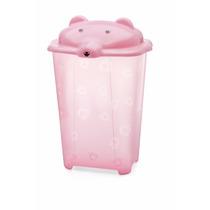 Cesto Urso Para Roupas De Bebê Adoleta Translúcido 44 L Rosa