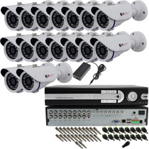 Kit Cftv 16 Cam Infra + Dvr H264 480 Fps Visão Noturna