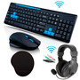 Kit Gamer Teclado + Mouse Wireless+ Fone Headset + Mouse Pad