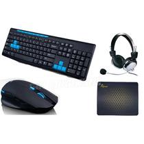Kit Combo Teclado + Mouse Sem Fio + Headphone + Mouse Pad
