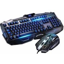 Kit Gamer Teclado Mouse Led Neon Multimídia 1600dpi V-100 Pc