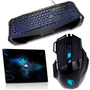 Kit Gamer Warrior Black Hawk Teclado + Mouse + Mouse Pad