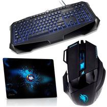 Kit Gamer Warrior Black Hawk Teclado + Mouse + Mouse Pad