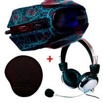 Kit Gamer - Fone Headset + Mouse Gamer 3200dpi + Mouse Pad