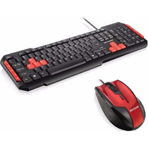 Kit Teclado Red Gamer Com Mouse Fire Usb Optico 6 Botoes