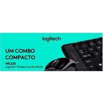 Kit Teclado E Mouse Wireless Logitech Mk220 Preto Sem Fio -