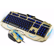 Kit Gamer Led Teclado + Mouse Neon 1600dpi V-100 Multimídia