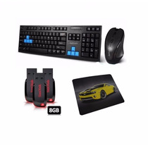 Teclado Mouse Gamer Wireless + Pendrive 8gb + Mouse Pad