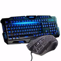 Kit Gamer Led Teclado + Mouse Neon 1600dpi Usb Legends 7.1