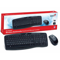 Kit Teclado E Mouse Wifi Genius Kb-8000x Usb Preto 1200 Dpi