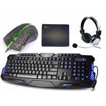 Kit Multimidia Teclado + Mouse 3200 Dpi Led + Fone Headse