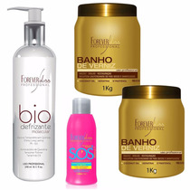 Kit 2 Banho De Verniz + Bio Defrizante + Sos - Forever Liss