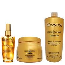 Kit Kérastase Elixir - Máscara 500g + Shampoo 1l + Óleo 125m