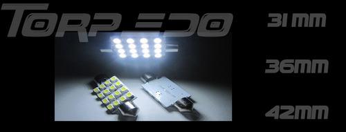 Lampada Torpedo 16 Leds P/ Teto Placa + Brinde Led P/ Farol