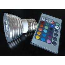 Lâmpada Led 16 Cores Rgb + Controle 24 Funções! 3w E27 Spot!