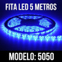 Fita Led 5050 Rolo 5m 300 Leds Dupla Face Azul + Forte