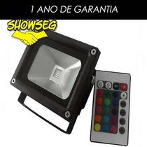 Refletor - Holofote Led Rgb 10w -16 Cores E Controle Gratis!