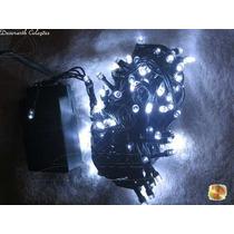Pisca Natal Cordão 100 Leds Branco 10m Luz Fixa Fio Verde