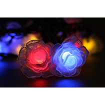 Cordão Pisca Pisca Natalino Natal 20 Rosas Colorida Led 3,2m