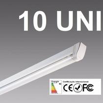 Kit 10 Lâmpada Led Fluorescente 120cm,+ Calha,branco Frio