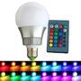 Super Lâmpada Bulbo Led Rgb 3w E27 110-220v + Controle