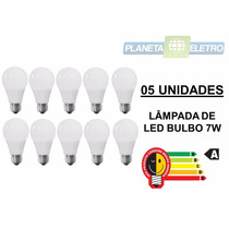 Kit Iluminação 5 Lâmpadas Led Bulbo 7w Bivolt Teto Gesso