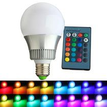 Super Lâmpada Bulbo Led Rgb 10w E27 110-220v + Controle