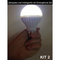 Lâmpada Led Inteligente De Emergência 5w Bulbo Bivolt Kit 2