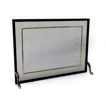 Tela Para Lareira Em Ferro Com Latão Oxidado - 70x50 Cm