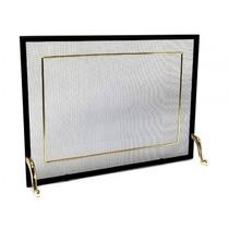 Tela Para Lareira Em Ferro Com Latão Dourado - 80x60 Cm