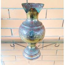 Lindo Vaso Ânfora De Metal Antigo Grande Trabalhado