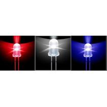 Led Auto-brilho 10mm Branco/azul/vermelho - Unidade