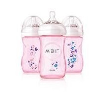 Kit 3 Mamadeiras Pétala Anticólica Decorada Rosa Avent 260ml