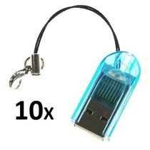 10 Unidades Mini Leitor De Cartão Memória Micro Sd Usb 2.0