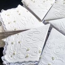 Guardanapos Personalizados Papel 20x20cm Perolas E Rendas