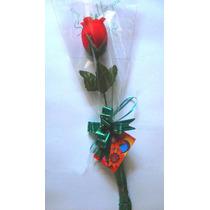 ° 100 Embalagens Para Flor Unitária - Manga Cone Rosa Botão