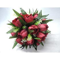 Buque Bouquet Noiva Flores Tulipas Artificiais Vermelho